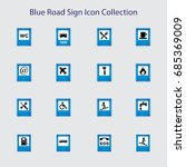 blue road sign icon collection | Shutterstock .eps vector #685369009