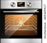 electric oven in stainless... | Shutterstock .eps vector #685369417