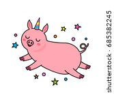 a funny character of a unicorn... | Shutterstock .eps vector #685382245