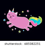 Stock vector a funny unicorn cat character jumps across the sky flat vector illustration 685382251