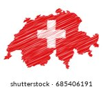 swiss flag map icon hand drawn... | Shutterstock .eps vector #685406191