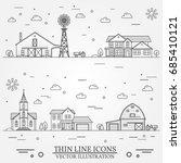 neighborhood with buildings... | Shutterstock .eps vector #685410121