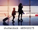 woman and kid caring there... | Shutterstock . vector #685410175