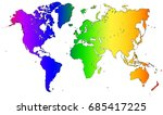 rainbow world map outlines | Shutterstock . vector #685417225