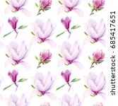 magnolia flowers watercolor... | Shutterstock . vector #685417651