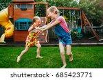 portrait of  two little girls ... | Shutterstock . vector #685423771