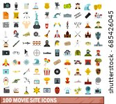 100 movie site icons set in... | Shutterstock .eps vector #685426045