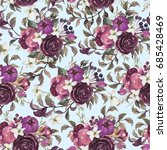 watercolor floral pattern on... | Shutterstock . vector #685428469