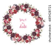 Stock photo watercolor floral illustration wreath with rose and peony flowers and leaves for wedding 685428721