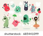 cute cartoon monsters vector... | Shutterstock .eps vector #685441099