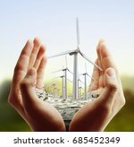 eco power  wind turbines in the ... | Shutterstock . vector #685452349