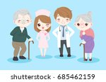 doctor with old couple on the...   Shutterstock . vector #685462159
