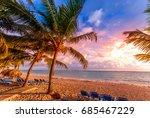 tropical sky and palm trees by... | Shutterstock . vector #685467229