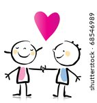 Valentines Day Two People Love Holding Stock Vector Royalty Free