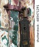 a lock on an old weather beaten ...   Shutterstock . vector #685471291