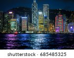 hong kong harbor view at night | Shutterstock . vector #685485325