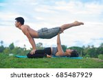 woman practices yoga exercise... | Shutterstock . vector #685487929