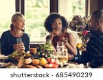 people celebrating thanksgiving ... | Shutterstock . vector #685490239