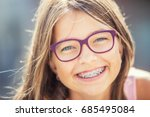 happy smiling girl with dental... | Shutterstock . vector #685495084