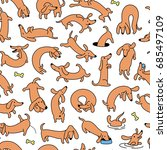 colorful dog vector seamless... | Shutterstock .eps vector #685497109