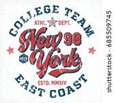 new york college team   tee... | Shutterstock .eps vector #685509745