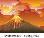 illustration of cartoon volcano ... | Shutterstock .eps vector #685518961