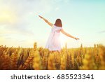woman with hands wide open on... | Shutterstock . vector #685523341