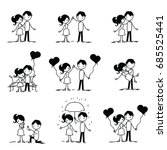 set of doodle couple. vector... | Shutterstock .eps vector #685525441