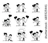 set of doodle couple. vector... | Shutterstock .eps vector #685525441
