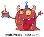 excited birthday monster...   Shutterstock . vector #68553874