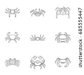 different crab icons set.... | Shutterstock .eps vector #685555447
