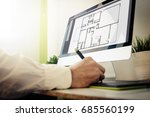 architect designing a house.... | Shutterstock . vector #685560199