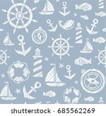 nautical background  seamless ... | Shutterstock .eps vector #685562269