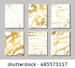 set of white and gold flyers.... | Shutterstock .eps vector #685573117