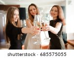 group people with champagne... | Shutterstock . vector #685575055
