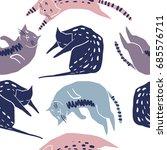Stock vector cute cats seamless pattern pet vector illustration cartoon cat images cute design for girls 685576711