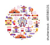 amusement park icon set in... | Shutterstock .eps vector #685580131