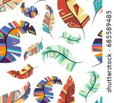 seamless colorful feather... | Shutterstock .eps vector #685589485