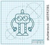 vector blueprint retro robot... | Shutterstock .eps vector #685592581