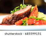 glazed duck fillet  mashed... | Shutterstock . vector #685599151