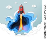 rocket ship launch icon paper... | Shutterstock .eps vector #685599961