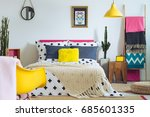 modern folk bedroom with mix of ... | Shutterstock . vector #685601335