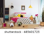 geometric bedroom with colorful ... | Shutterstock . vector #685601725
