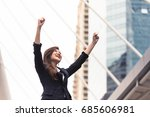Small photo of Happy face of Successful business woman with hand up celebrating success concept