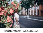 beautiful sensual brunette... | Shutterstock . vector #685609861