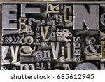 metal letterpress types. a... | Shutterstock . vector #685612945