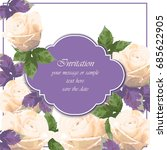 pink roses card vector.... | Shutterstock .eps vector #685622905