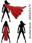 back of super heroine over... | Shutterstock .eps vector #685625179