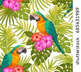 seamless tropical floral... | Shutterstock .eps vector #685631989