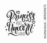 princess kisses  unicorn wishes ... | Shutterstock .eps vector #685634671